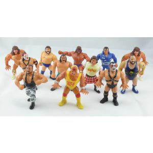 Lotto 12 action figures personaggi wrestling anni 90 Titan sport wwf wwe wrestle