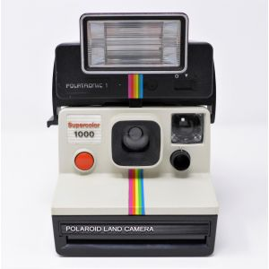 Macchina fotografica Polaroid 1000 instant camera con flash Polatronic 1 land camera polaroid red button