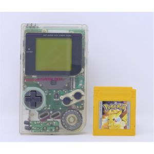 Retroconsole Nintendo Game Boy trasparente + Pokemon versione gialla retrogames game & watch